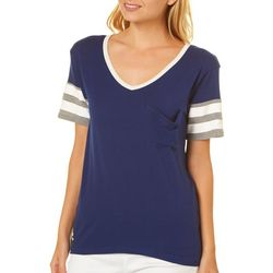 Poof Juniors Solid Striped Pocket T-Shirt