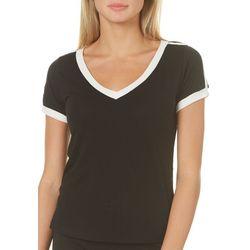 Poof Juniors Solid Contrast Trim V-Neck T-Shirt