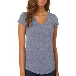 Poof Juniors Heathered V-Neck Top