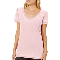 Poof Juniors V-Neck Burnout T-Shirt