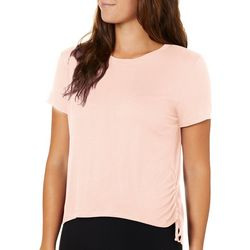 Rebellious One Juniors Solid Ruched Short Sleeve Top