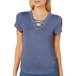 Derek Heart Juniors Solid Crisscross V-Neck Top