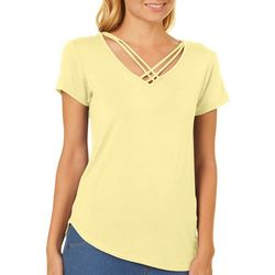 Derek Heart Juniors Crisscross V-Neck T-Shirt