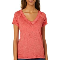Derek Heart Juniors Solid Burnout V-Neck T-Shirt