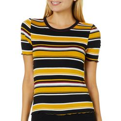 Almost Famous Juniors Cropped Striped Short Sleeve Top
