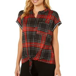 Cravefame Juniors Plaid Tie Front Button Down Top