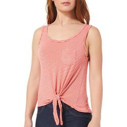 Splash Juniors Striped Tie Front Tank Top