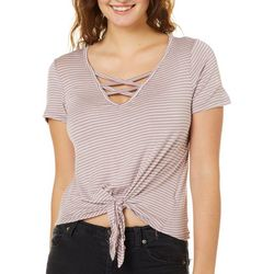 Splash Juniors Striped Crisscross Tie Front Top