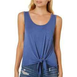 Splash Juniors Solid Tie Front Pocket Tank Top