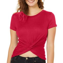 Splash Juniors Solid Twist Front Crop Top