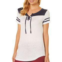 Splash Juniors Colorblock Lace-Up T-Shirt