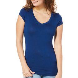 Splash Juniors Solid Ruched Side V-Neck T-Shirt