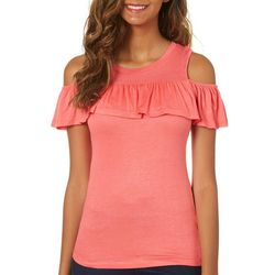 Splash Juniors Ruffled Cold Shoulder Top