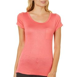 Splash Juniors Solid Scoop Neck Pocket T-Shirt