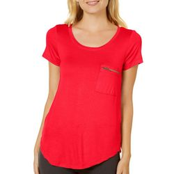 Splash Juniors Solid Zipper Pocket Scoop Neck T-Shirt