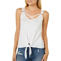 Splash Juniors Solid Crisscross Tie Front Tank Top