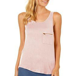 Splash Juniors Solid Zipper Pocket Tank Top