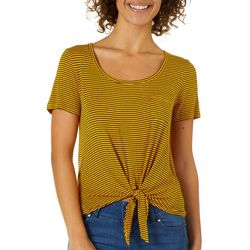 Splash Juniors Striped Tie Front Pocket Top
