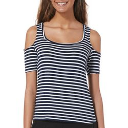 Splash Juniors Striped Cold Shoulder Top
