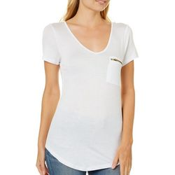 Splash Juniors Solid Zipper Pocket V-Neck T-Shirt