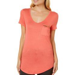 Splash Juniors Solid Zipper Pocket V-Neck T-Shirt