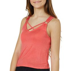 0152801893ae03 Splash Juniors Solid Crisscross Neck Cropped Tank Top