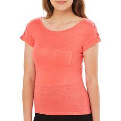 Splash Juniors Solid Crisscross Shoulder Grommet T-Shirt