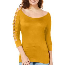 Splash Juniors Solid Caged Sleeve Top