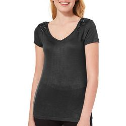 Splash Juniors Solid Lace-Up T-Shirt