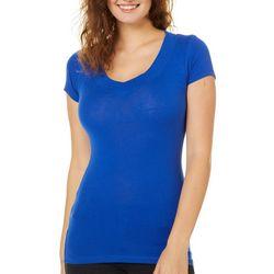 Splash Juniors Solid Wide V-Neck T-Shirt
