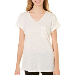 Moa Moa Juniors Pocket V-Neck Slub Knit Top