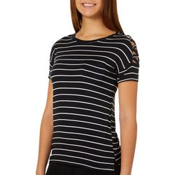 Glitz Juniors Striped Criss Cross Shoulder Detail T-Shirt