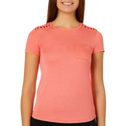 Glitz Juniors Solid Knot Shoulder Detail T-Shirt