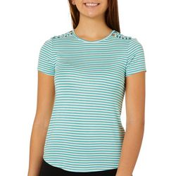 Glitz Juniors Striped Knot Shoulder Detail T-Shirt