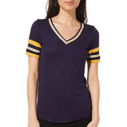 Glitz Juniors Athletic Striped V-Neck T-Shirt