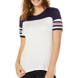 Glitz Juniors Colorblock Striped Sleeve T-Shirt