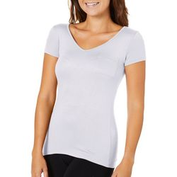 Glitz Juniors Solid Crochet Back V-Neck T-Shirt