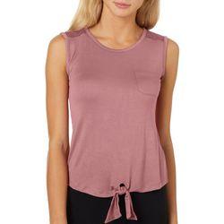 Glitz Juniors Solid Crochet Detail Short Sleeve T-Shirt