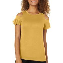 Glitz Juniors Solid Cold Shoulder Short Sleeve T-Shirt