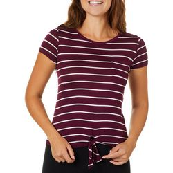 Glitz Juniors Striped Crochet Back Tie Front T-Shirt