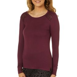 Moral Fiber Juniors Solid Lace Detail Long Sleeve Top