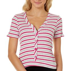Glitz Juniors Stripe Cropped V-Neck Short Sleeve Top