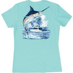 Guy Harvey Womens Marlin Boat T-Shirt