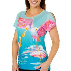 Ellen Negley Womens Sunny Spoonbills Cold Shoulder Top