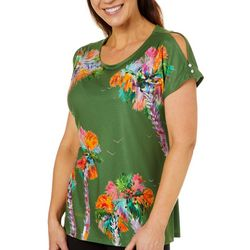 Ellen Negley Womens Palm Perspective Slit Sleeve Top