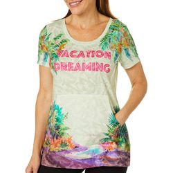 Ellen Negley Womens Flamingo Lagoon Kangaroo Pocket Top