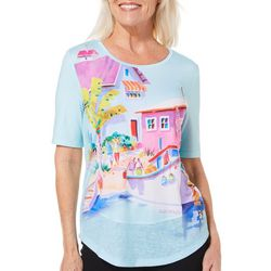 Ellen Negley Womens Fishing Boats & Bouys Back Cutout Top