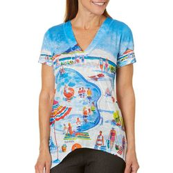 Ellen Negley Womens Pool Party Print Top