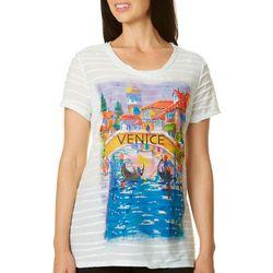 Ellen Negley Womens Venice Views Print Textured Top