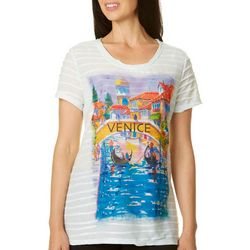 Ellen Negley Womens Venice Views Print Textured Top
